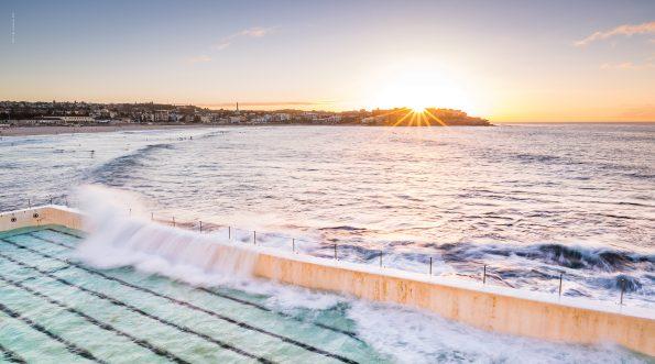 100% cotton beach towel – Glass Half Full